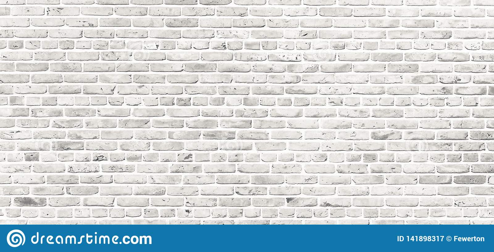 White brick wall. Simple grungy white brick wall with light gray shades pattern surface texture background in wide panorama format