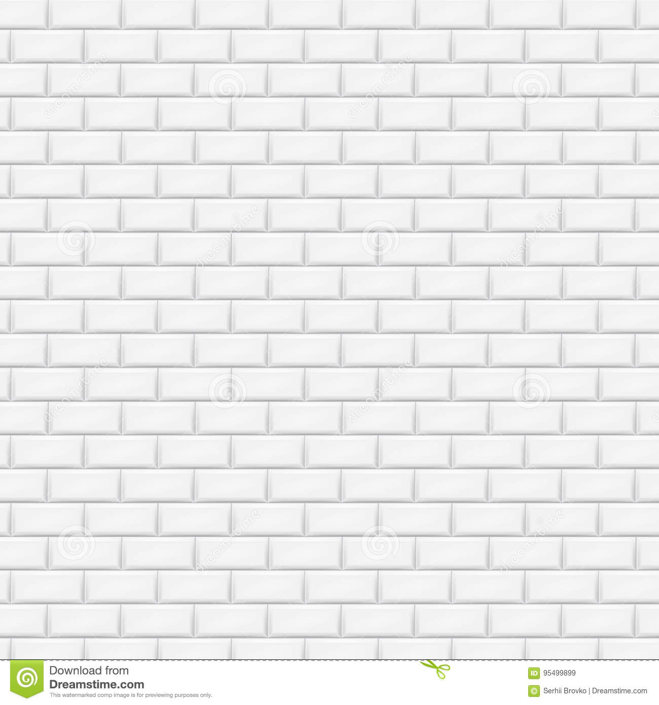 Designer White Abstract Ceramic Wall Tile Pack Of 8 L: White Brick Wall In Subway Tile Pattern. Vector