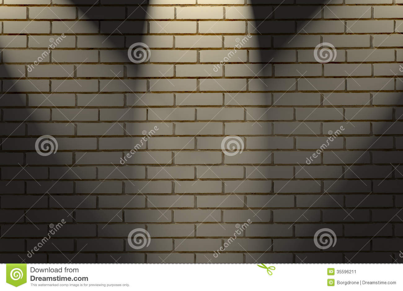White Brick Wall Lights : White Brick Wall With Three Light Stock Image - Image: 35596211