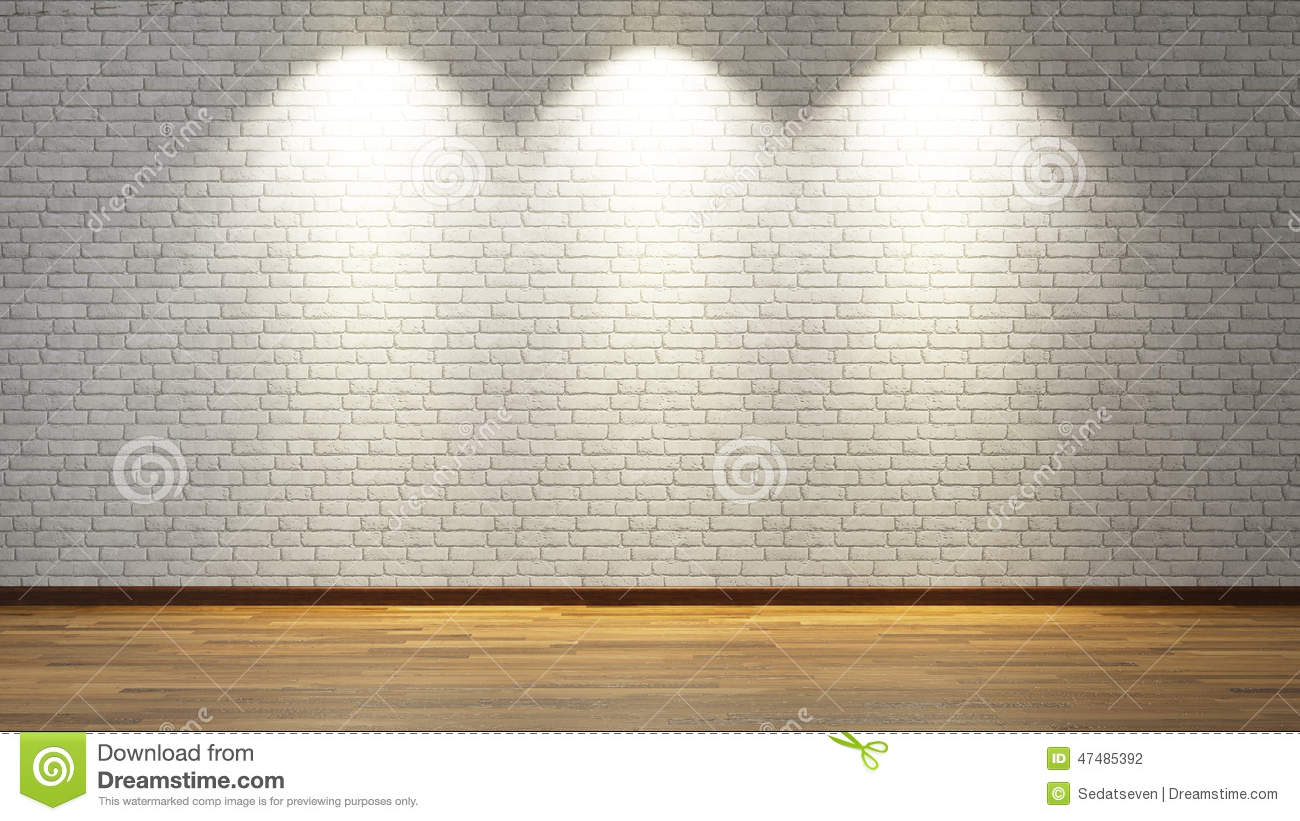 White Brick Wall Lights : White Brick Wall With Three Spot Lights Stock Photo - Image: 47485392
