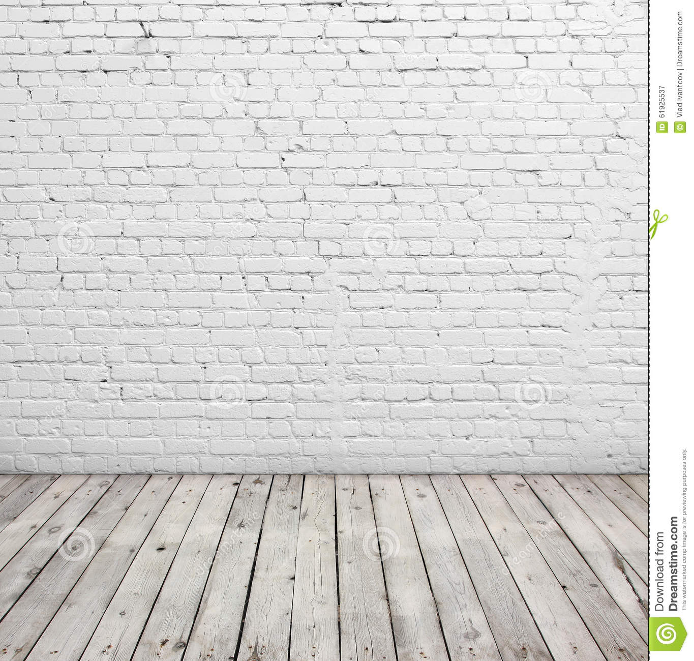 White brick wall and wood floor stock image image of for Floor and wall