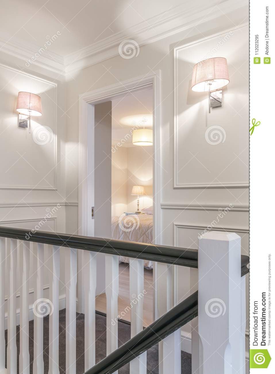Download Nice Hallway And The Bedroom Door In A House Stock Image   Image  Of Bright