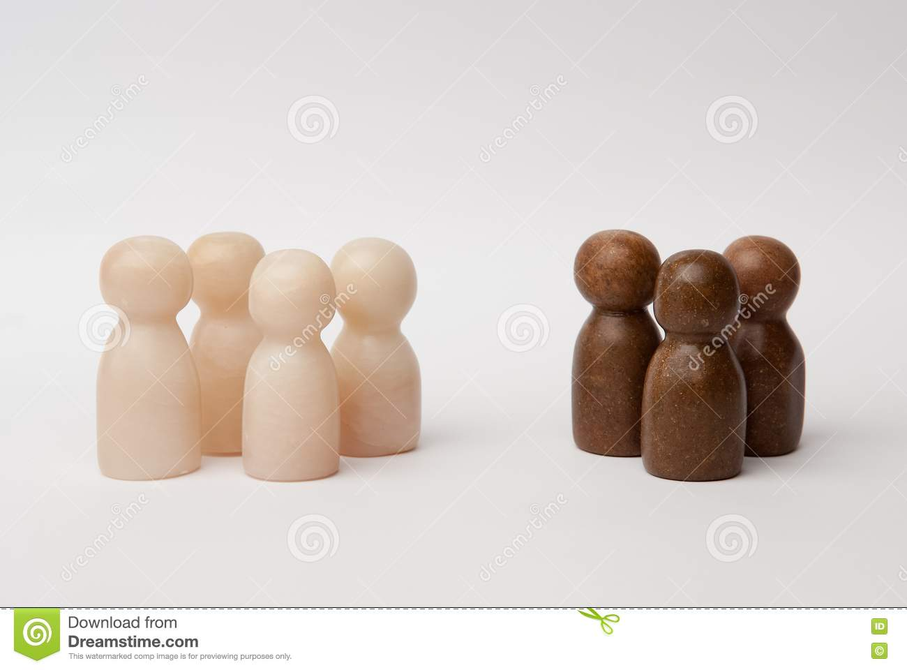White and brown figures