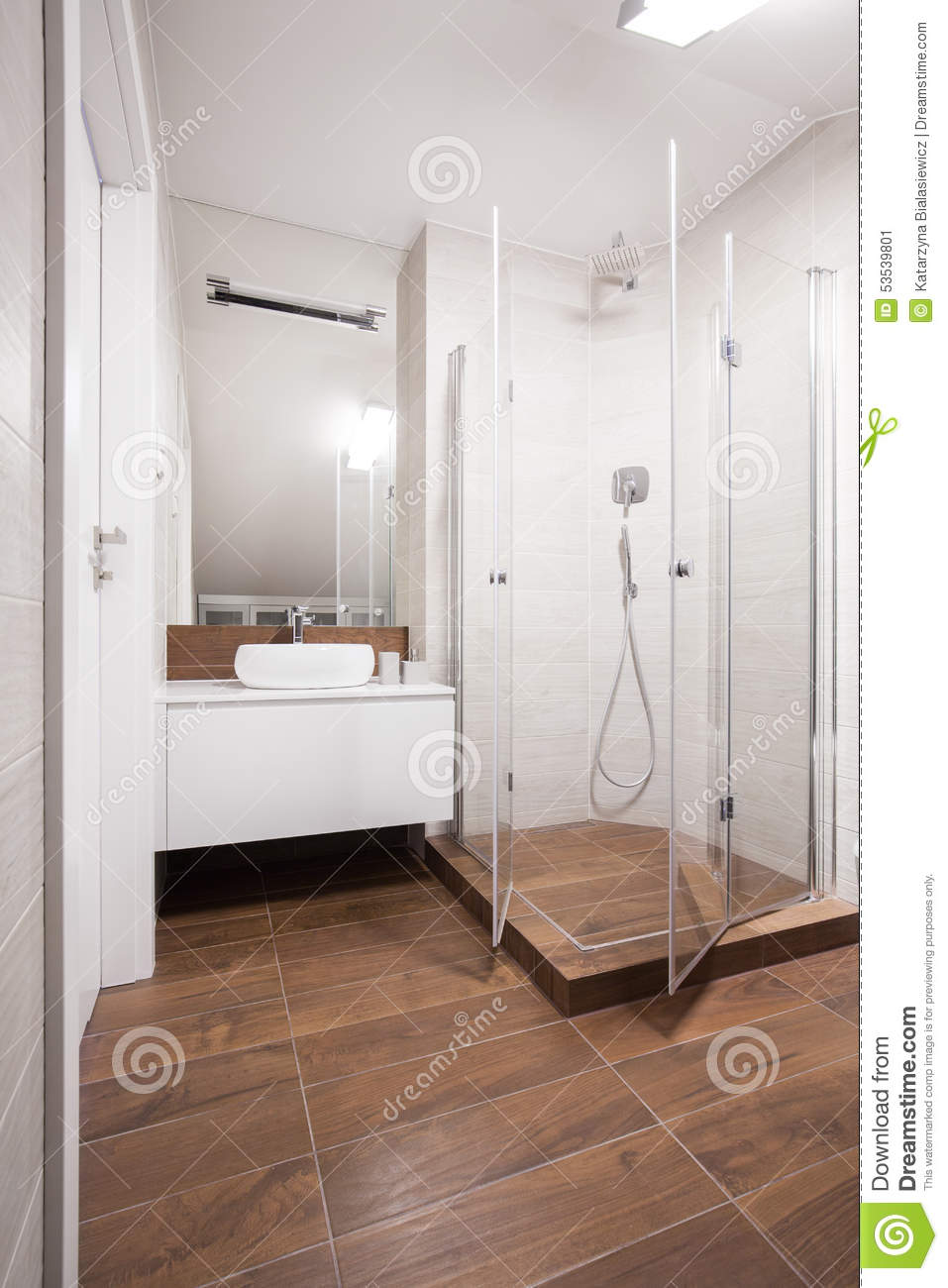 White And Brown Washroom Interior Stock Image Image Of Illuminated
