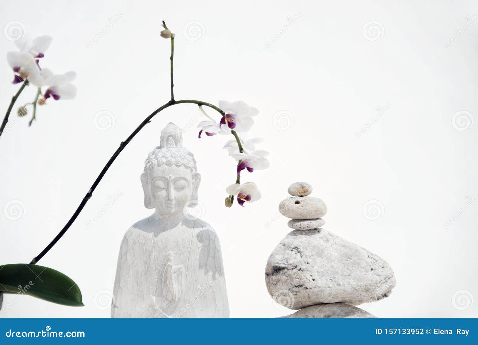 White Buddha Flower Stone Balance