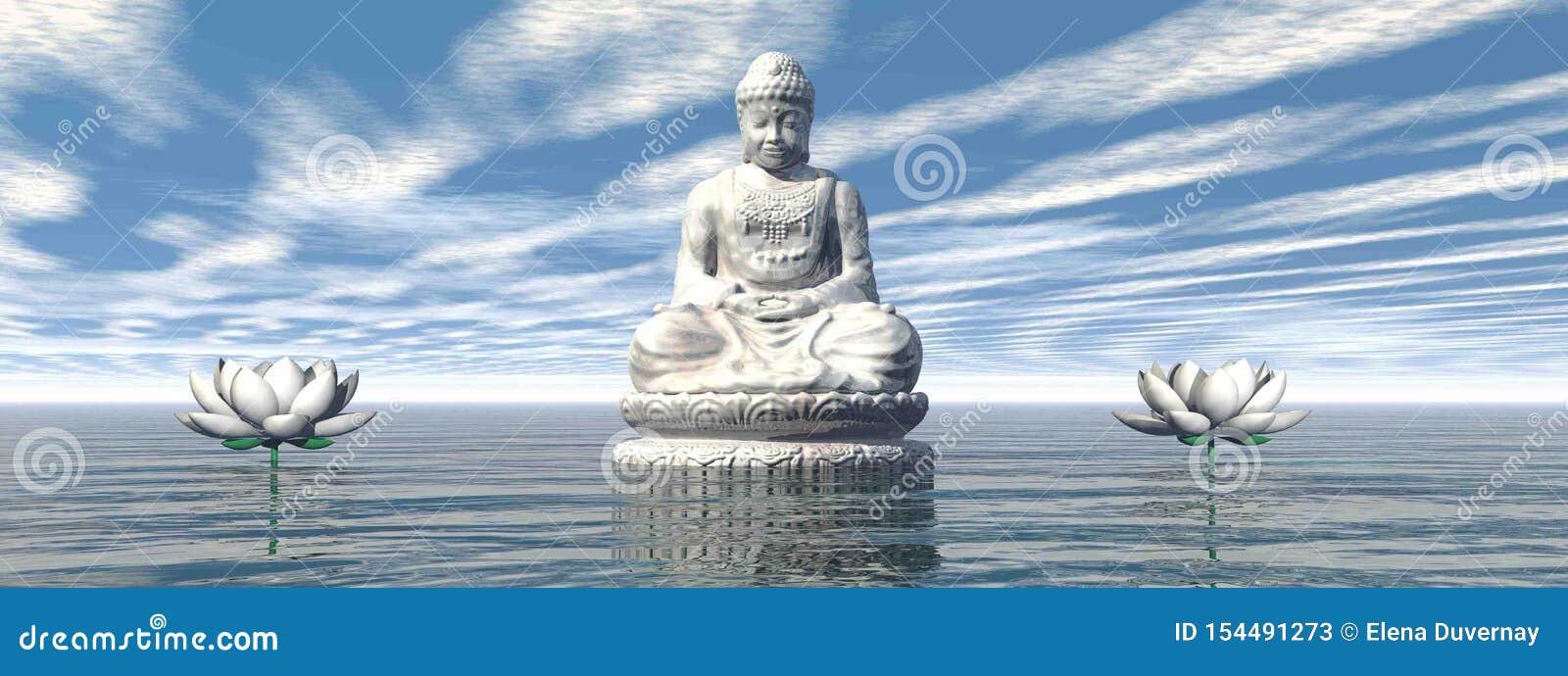 White Buddha meditating by day - 3D render