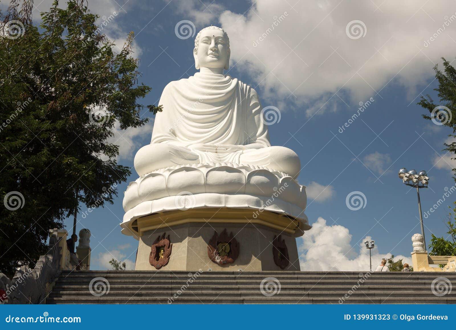 White Buddha Statue at Long Son Pagoda in Nha Trang