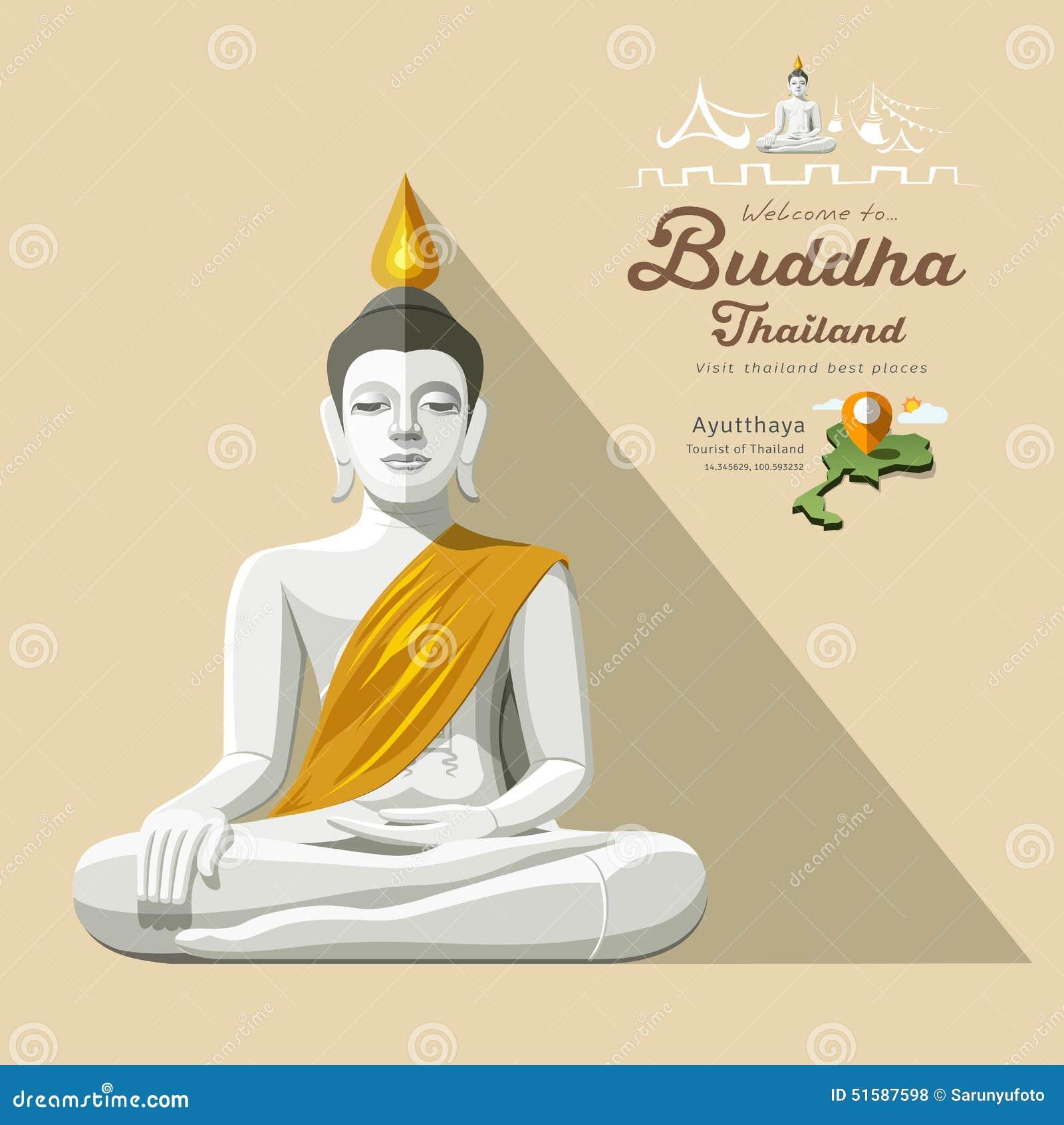 buddha thailand white yellow