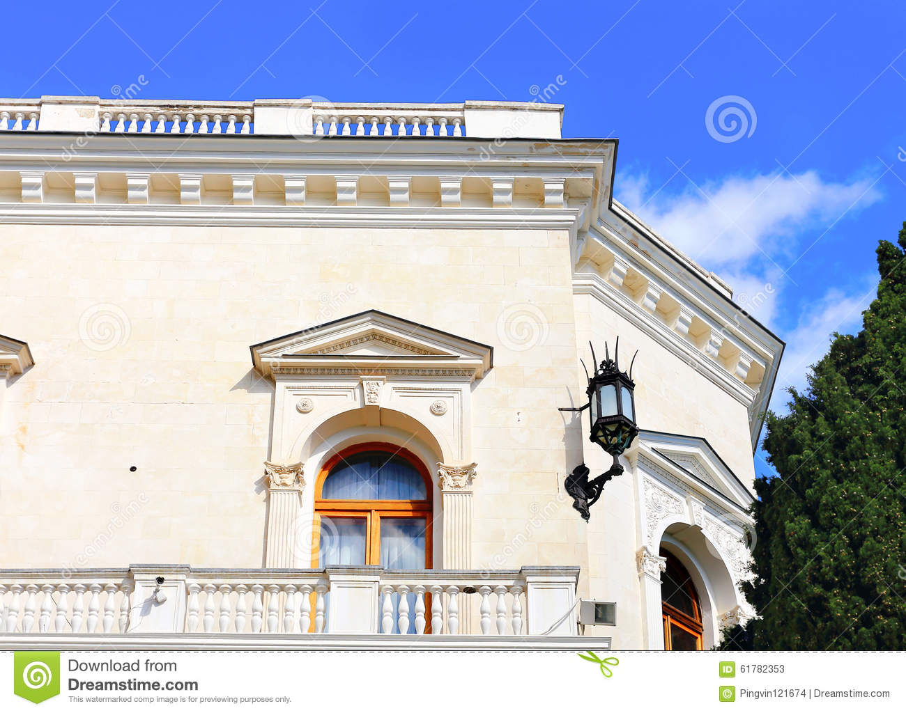 Balcony In Marble Wall : White building with balcony and stone staircase stock