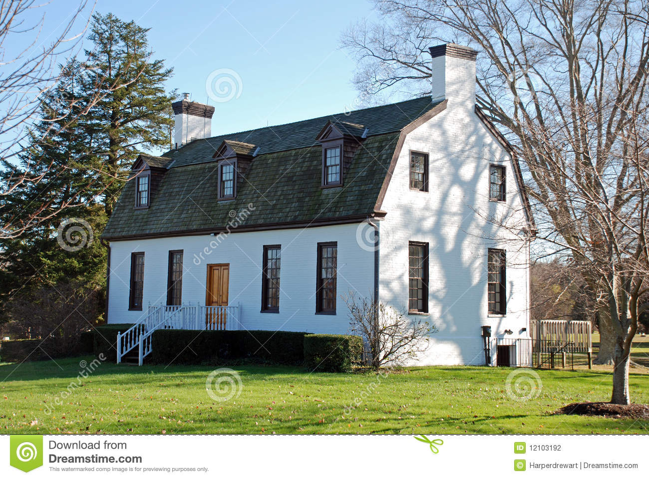 White Building Gambrel Roof Stock Photo Image Of History