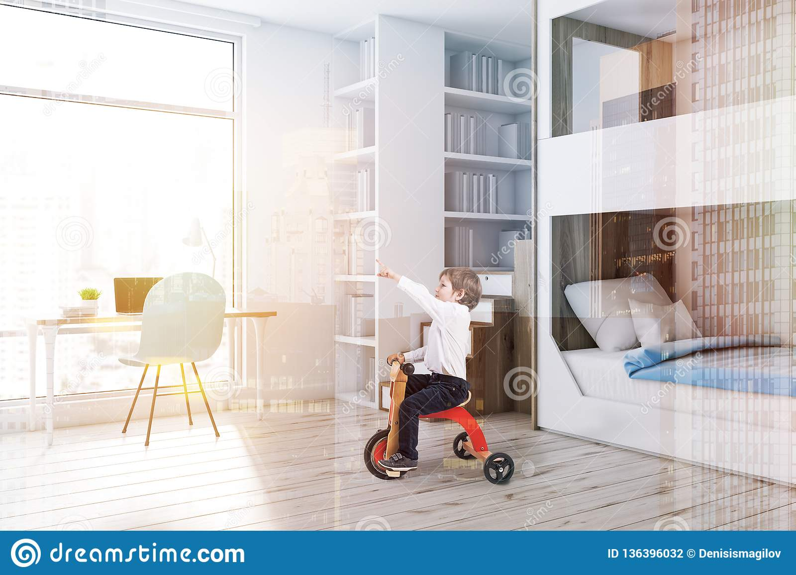 Picture of: White Bunk Bed Bedroom Corner Computer Desk Boy Stock Photo Image Of House Bunk 136396032