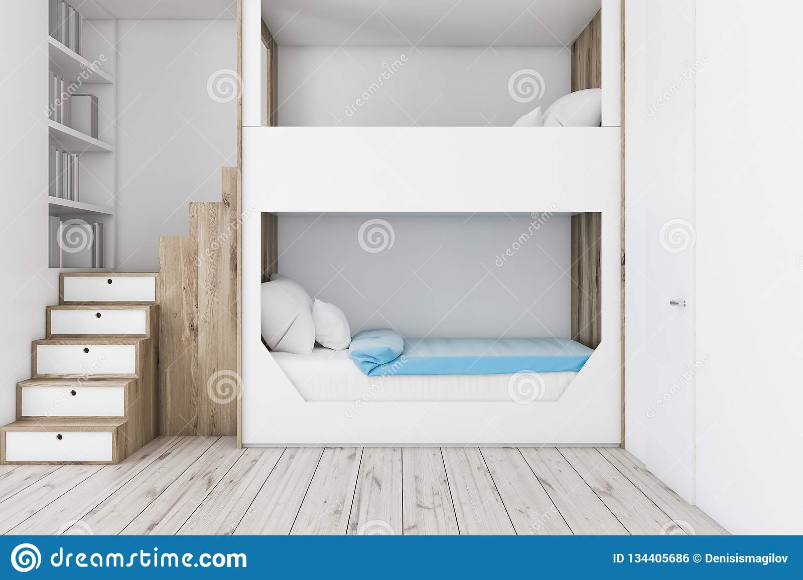 White Bunk Bed Bedroom Interior Stock Illustration