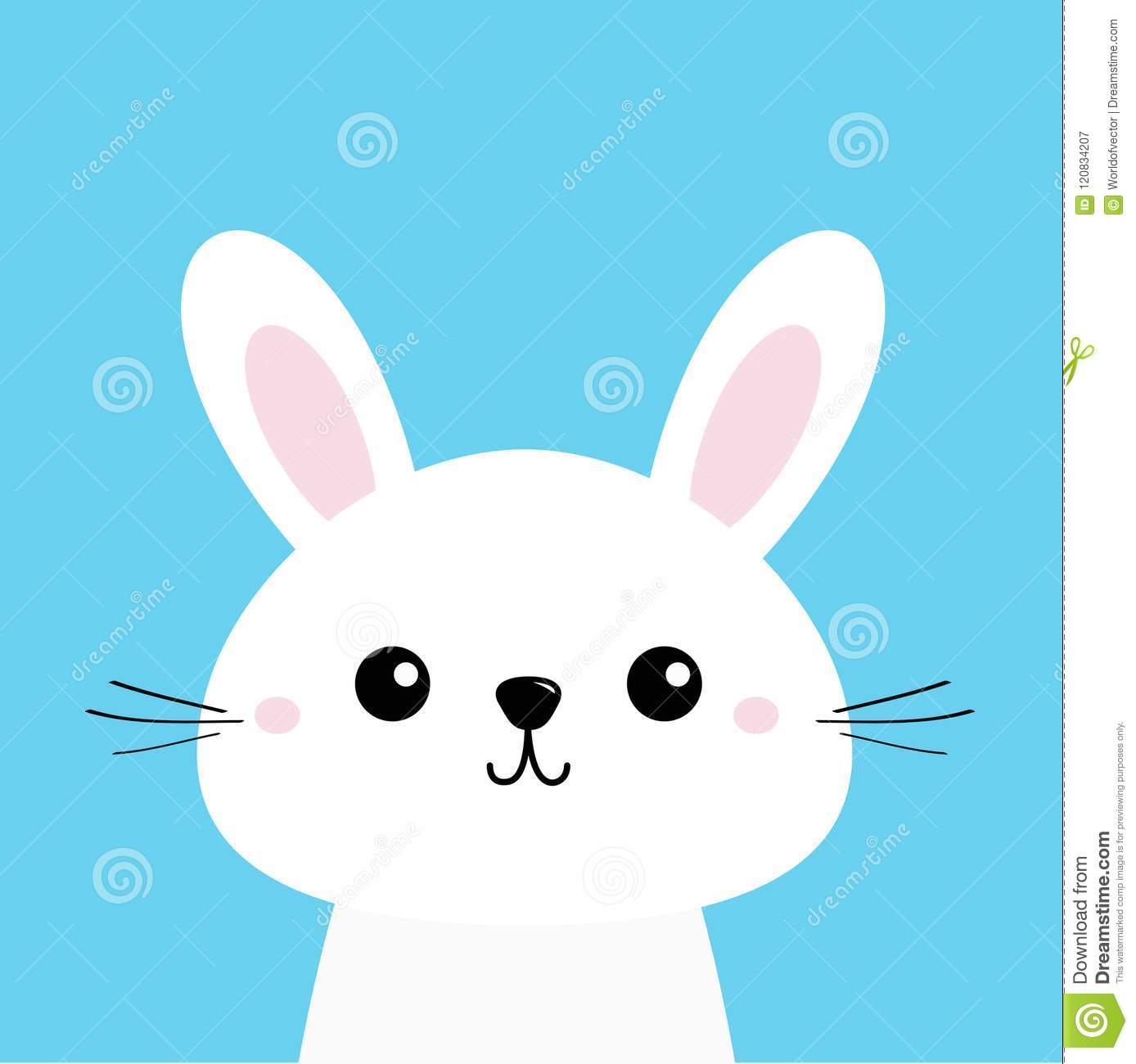 White Bunny Rabbit Cute Kawaii Cartoon Character Funny Head Baby