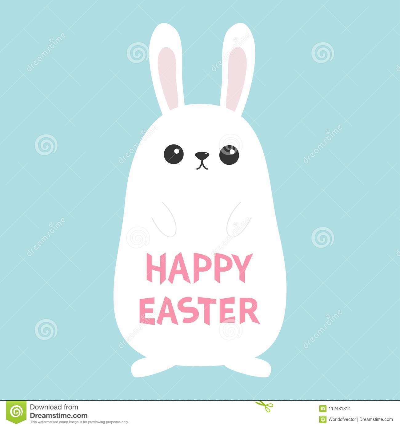 White Bunny Rabbit Funny Head Face Big Ears Cute Kawaii Cartoon
