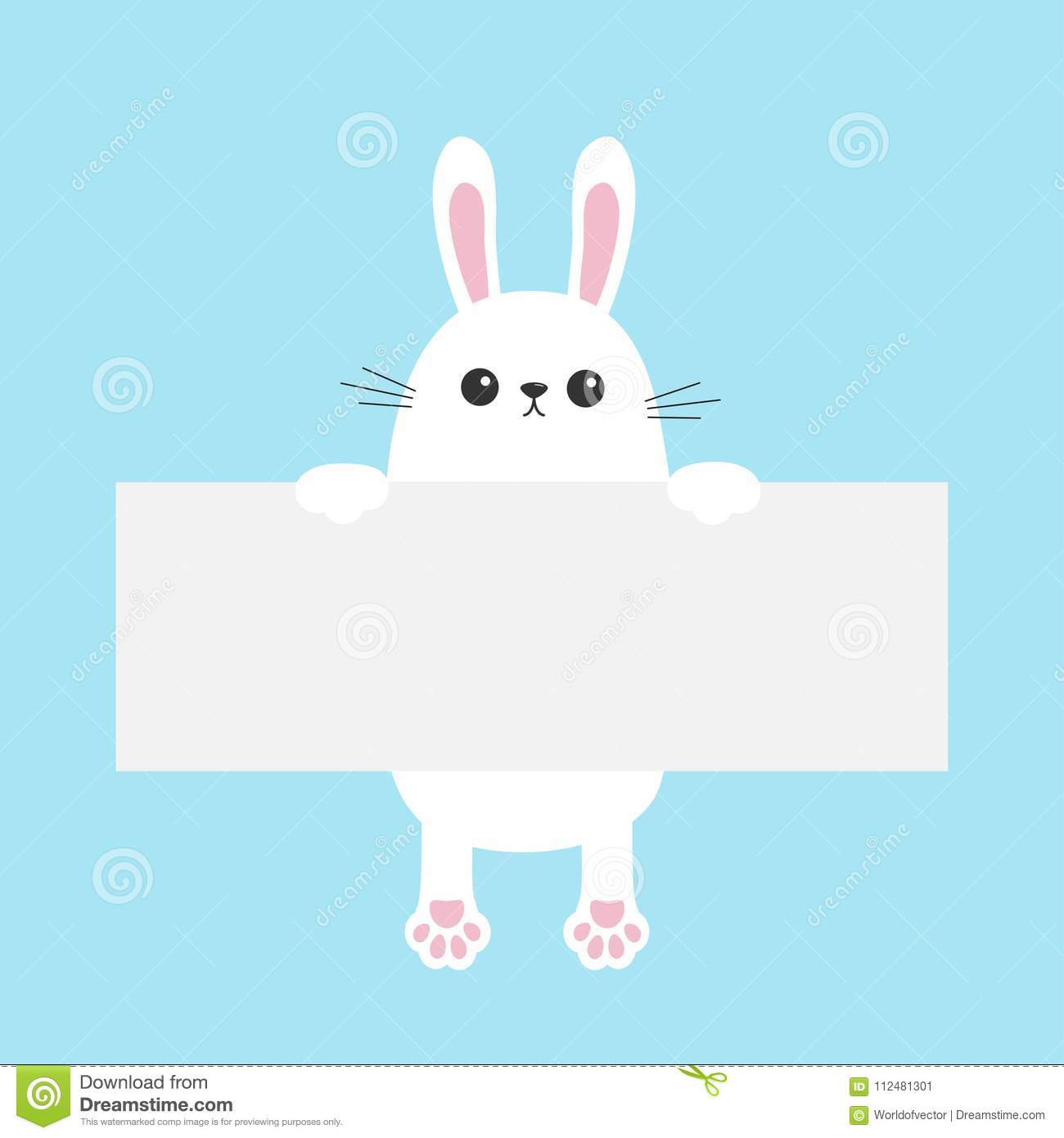 White Bunny Rabbit Hanging On Empty Paper Board Template Happy