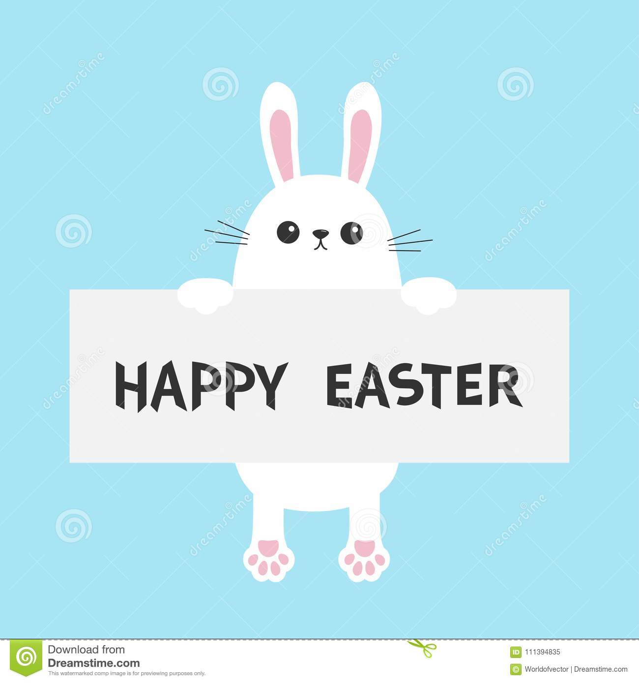 white bunny rabbit hanging on paper board template happy easter