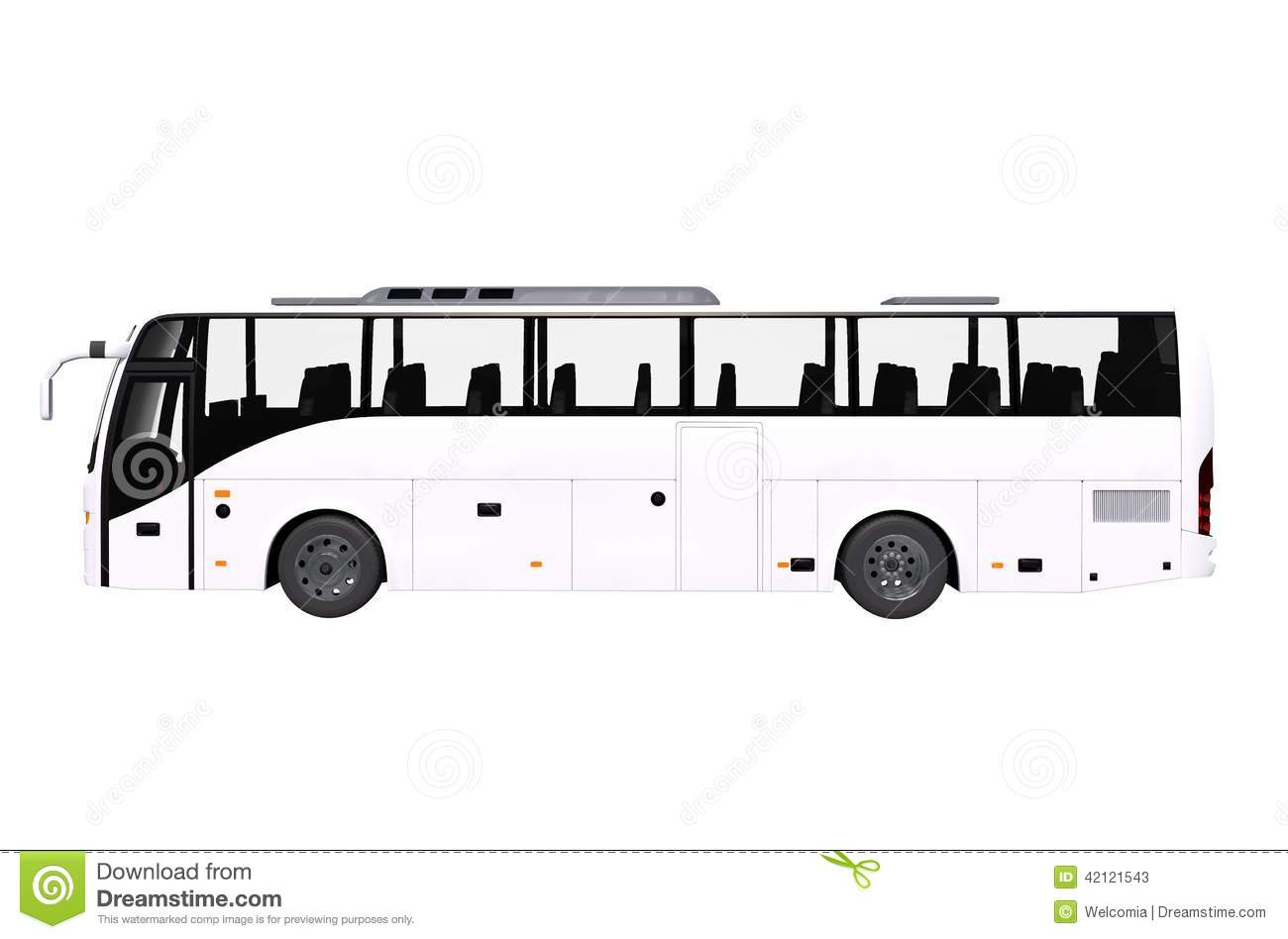 white bus side view isolated stock illustration image