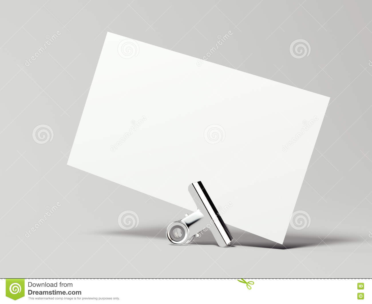 White Business Card With Silver Clip 3d Rendering Stock