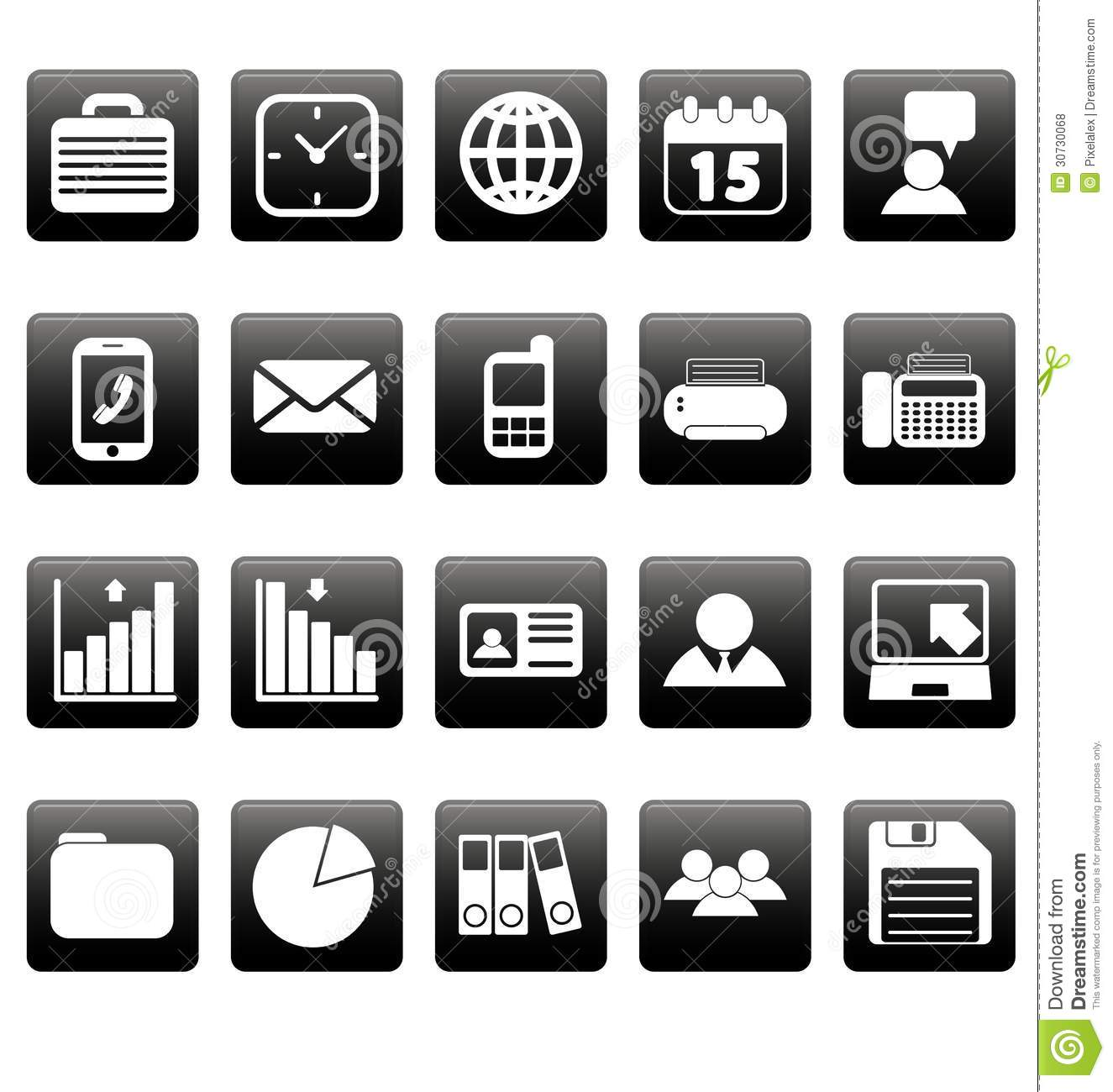 white business icons on black squares stock vector