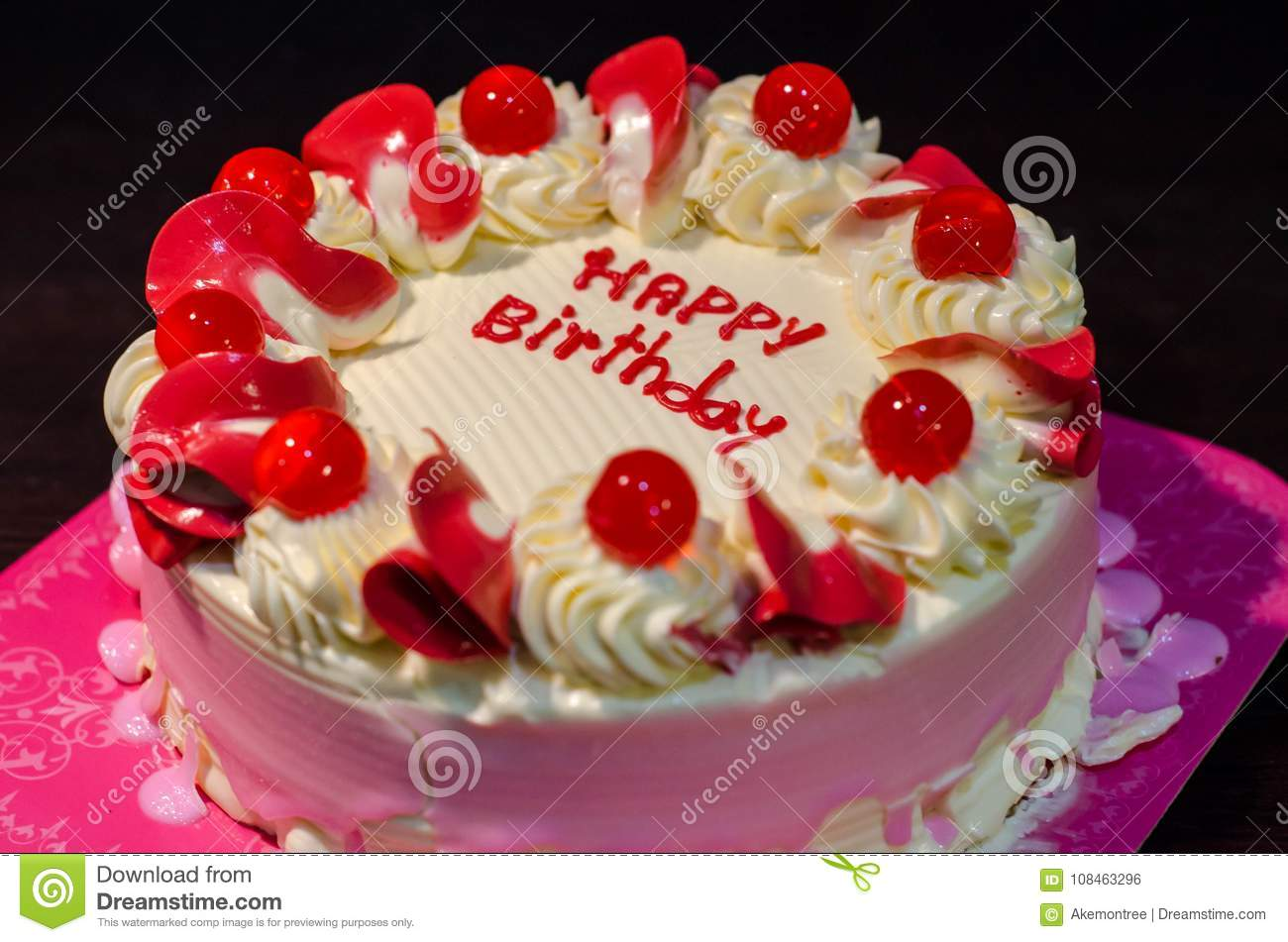 Fantastic Hbd Cake In Pink White Tone Decorate By Happy Birthday Words Stock Funny Birthday Cards Online Alyptdamsfinfo