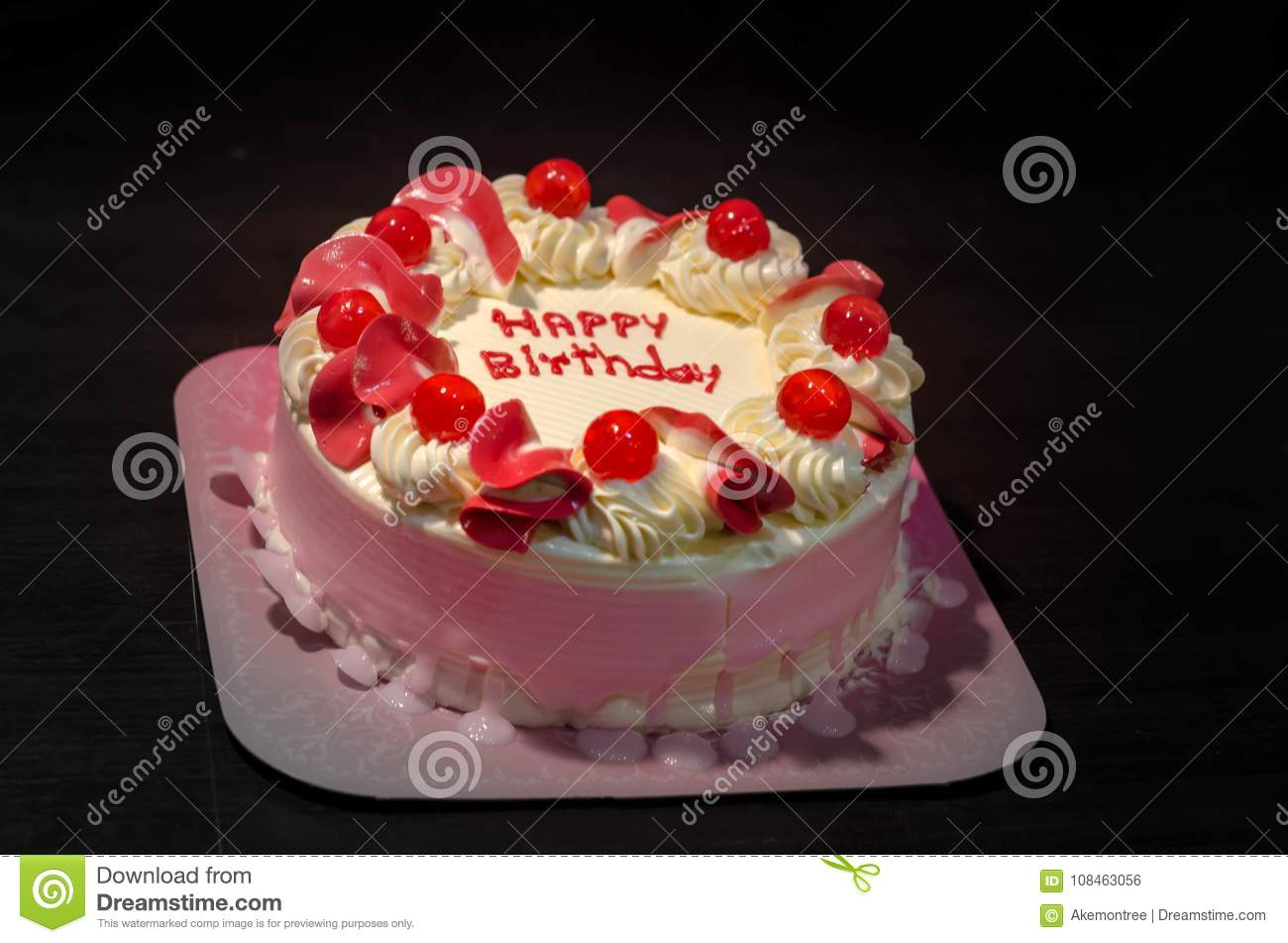 Hbd Cake In Pink White Tone Decorate By Happy Birthday Words Stock