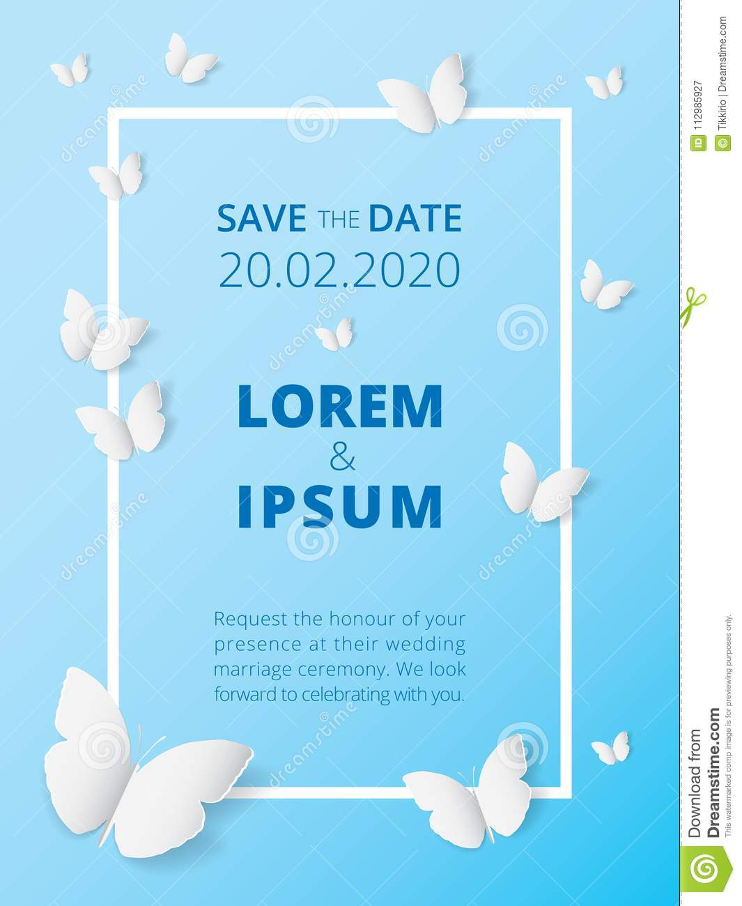 White butterfly paper art icon on blue label background, wedding card invitation printing template.