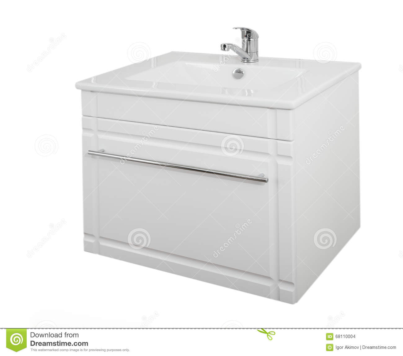 White Laminated Particle Board ~ White cabinet with washbasin made of wood particle board