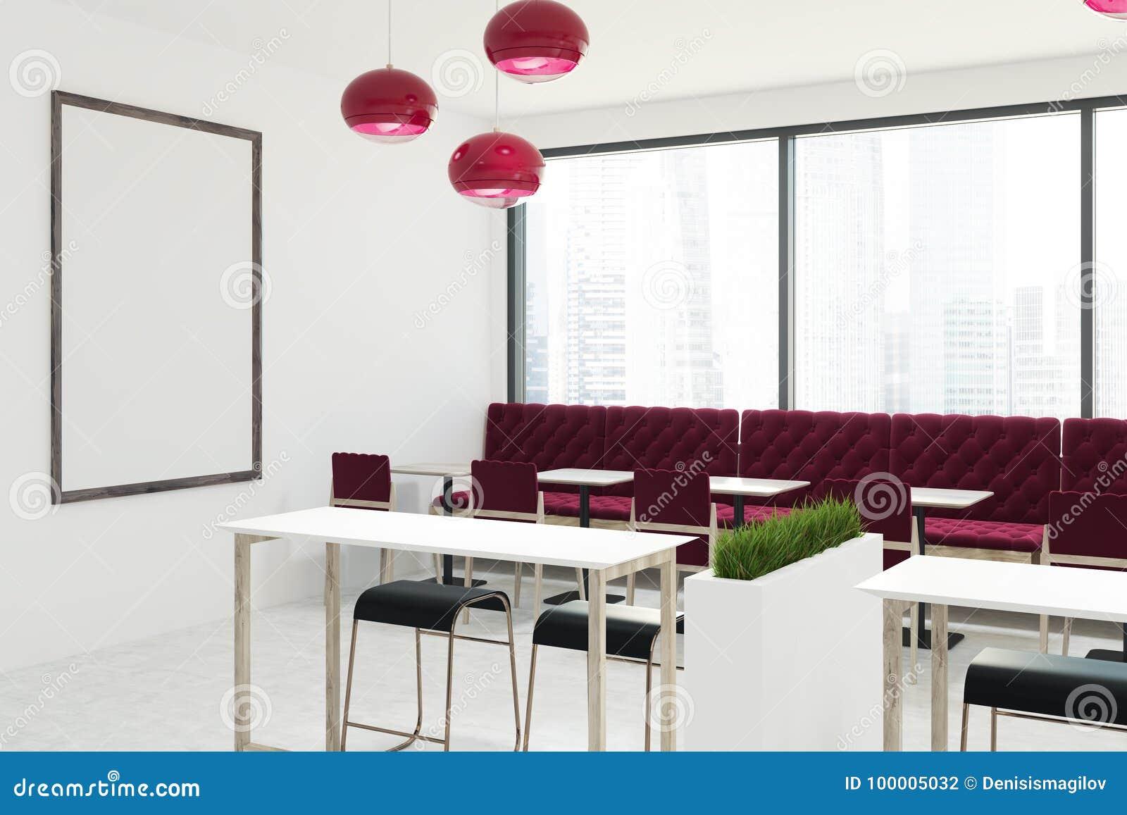 White Cafe Interior With Red Sofas Stock Illustration Illustration Of Billboard Mock 100005032