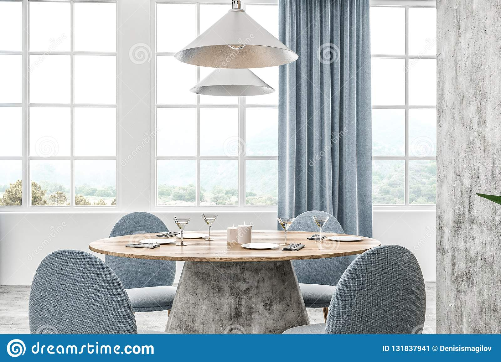 Admirable White Cafe Table With Curtains Stock Illustration Alphanode Cool Chair Designs And Ideas Alphanodeonline