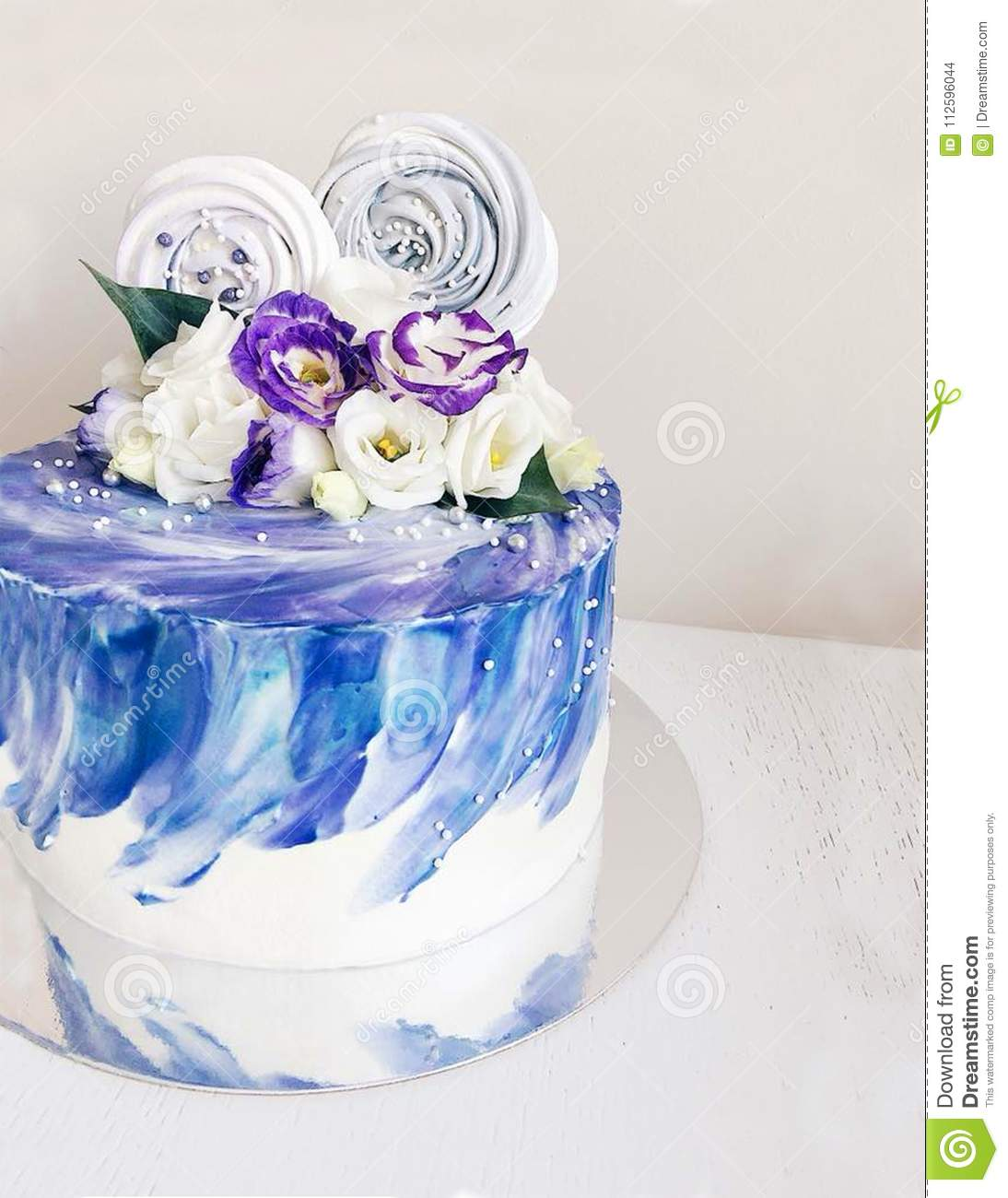 White Cake With Cream Of Sea Color Stock Photo Image Of Gift
