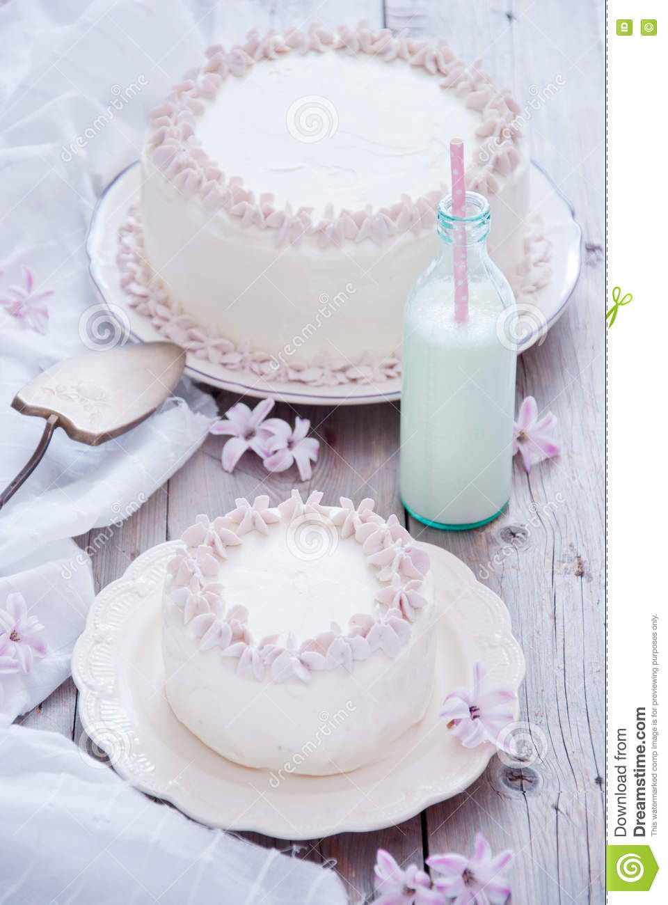 White cake with pink flowers stock photo image of icing download white cake with pink flowers stock photo image of icing celebration 81282572 mightylinksfo