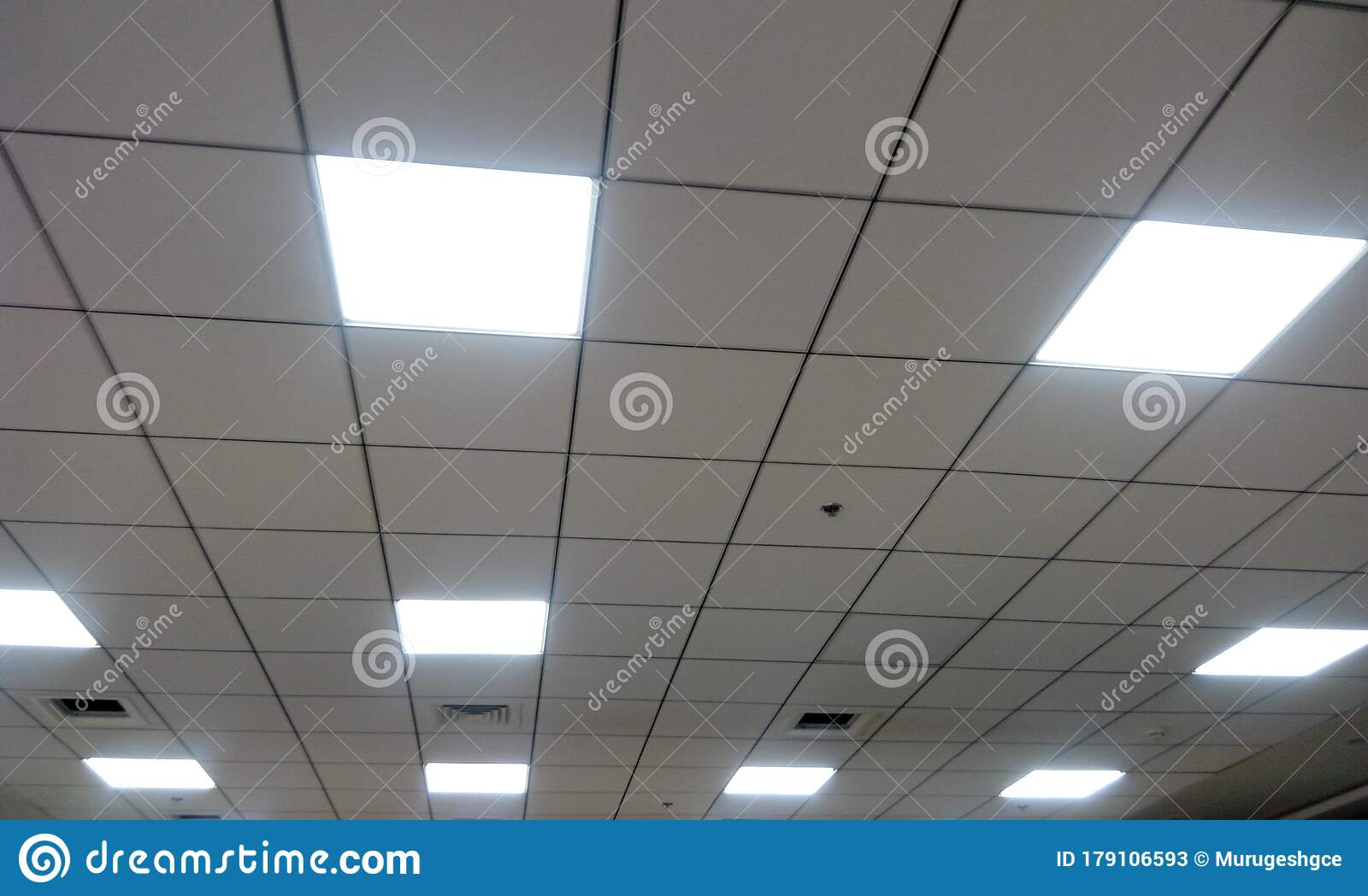 Suspended Grid False Ceiling For An Workstation Office Commercial Building Stock Image Image Of Flat Light 179106593