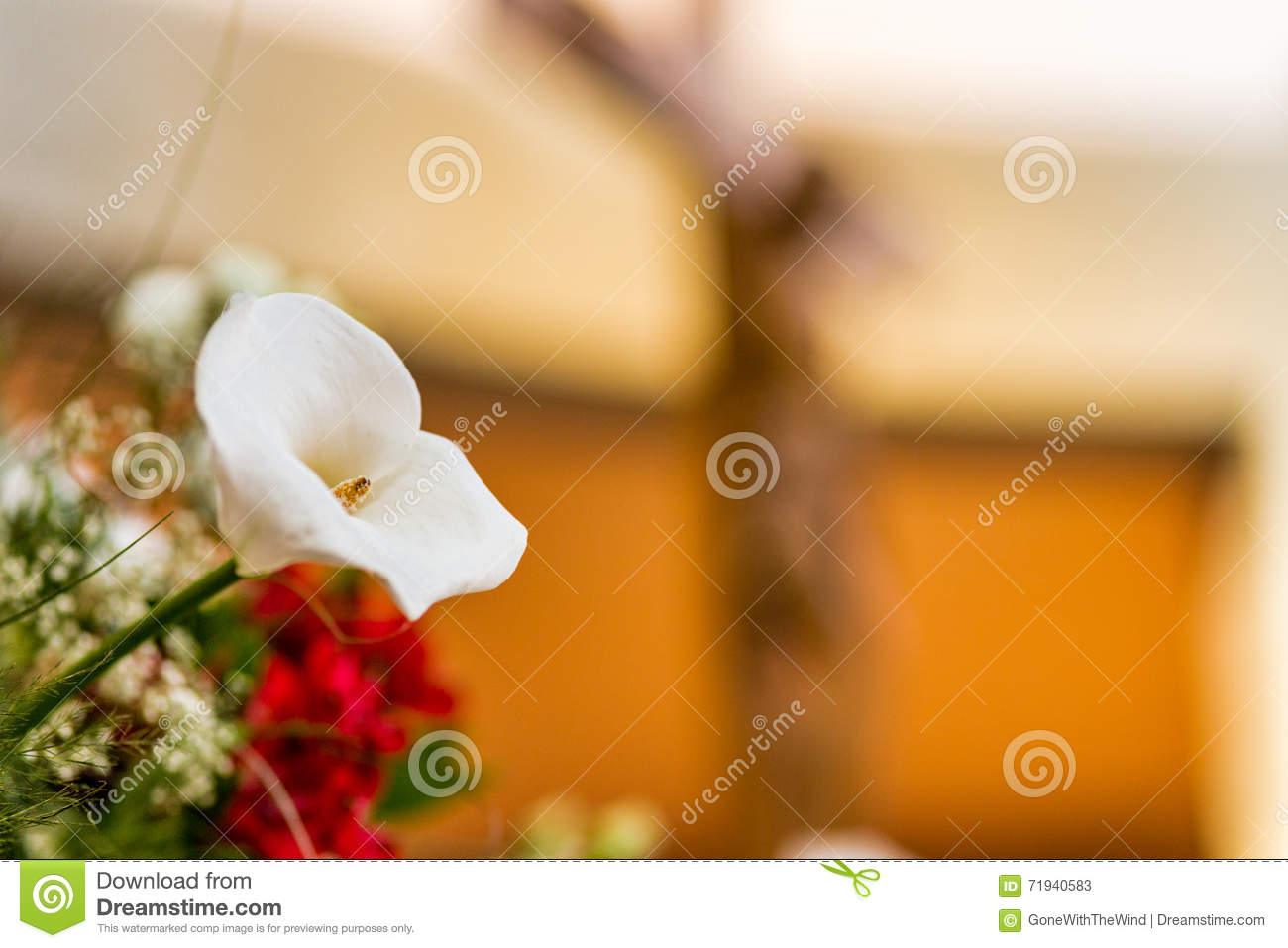 White Calla Lily And Crucifix Stock Image Image Of Christ Bouquet