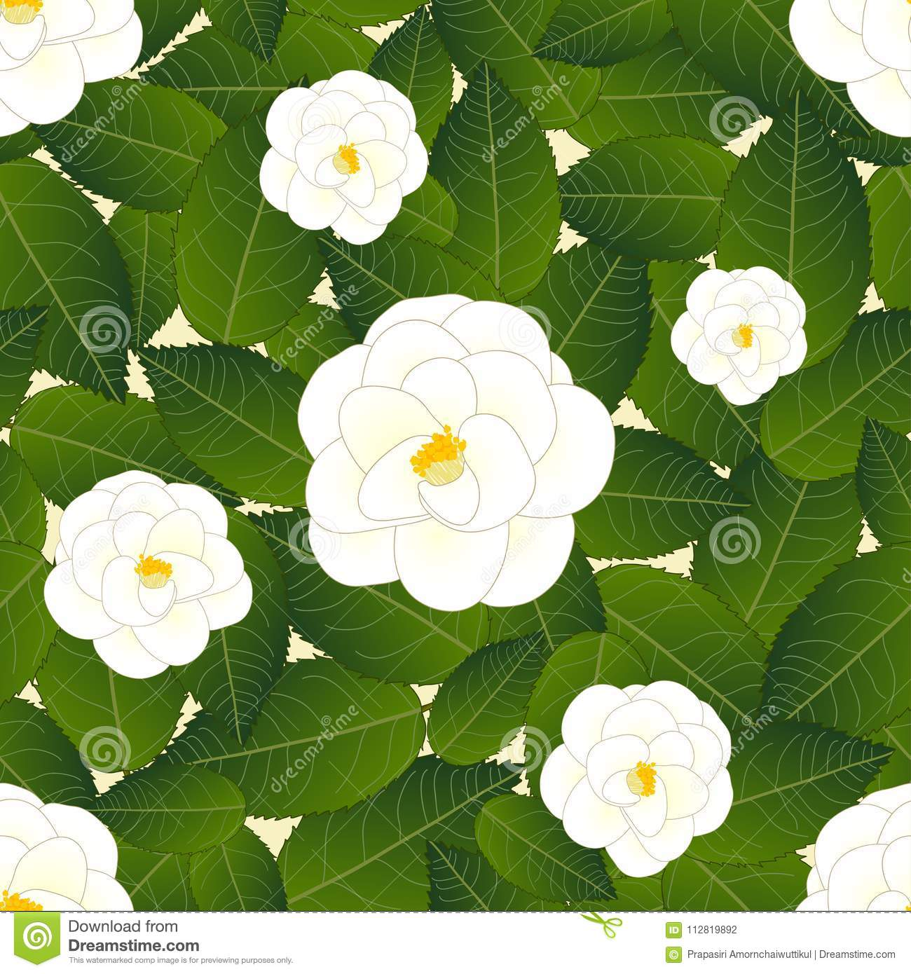 White Camellia Flower On Ivory Beige Background Vector Illustration