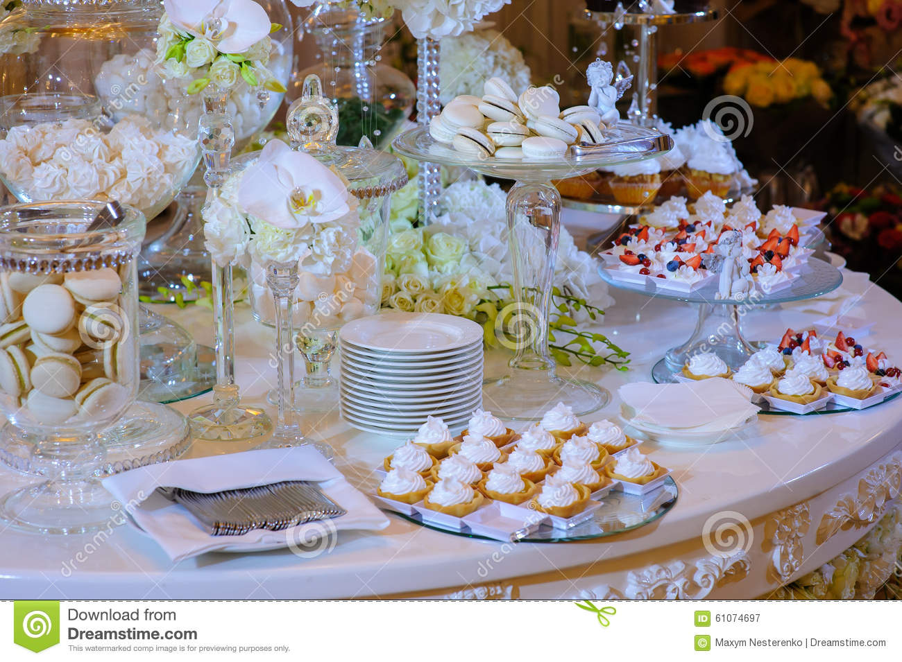 stock photo white candy bar wedding pretty flowers image wedding candy bar White candy bar at a wedding