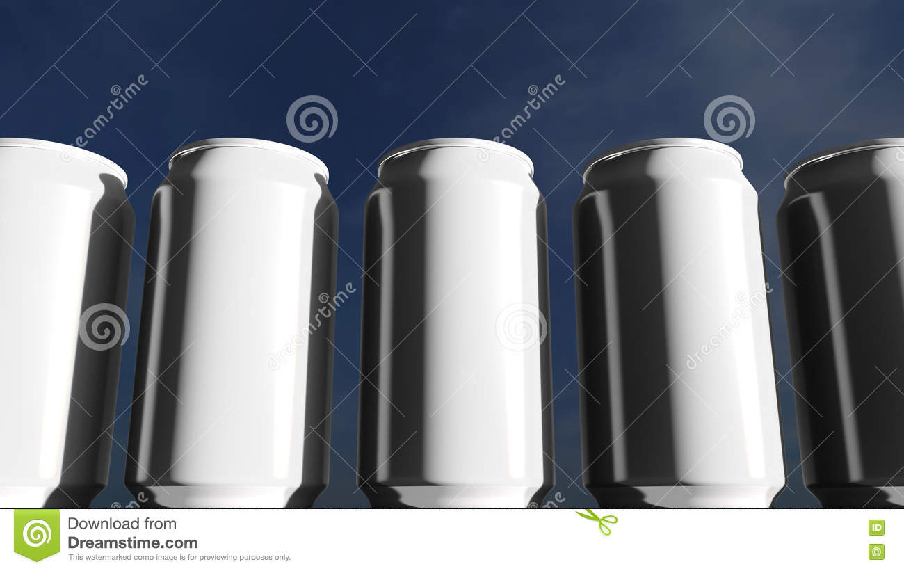 White cans against sky at sunset. Soft drinks or beer for party. Beach bar. 3D rendering