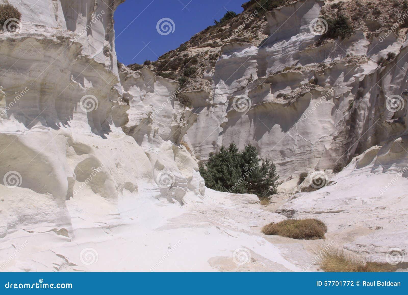 White canyon at Sarakiniko beach on Milos island