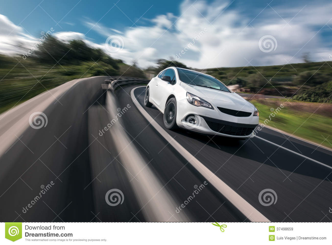BMW Mountain View >> White Car Cornering In Mountain Road Stock Image - Image ...
