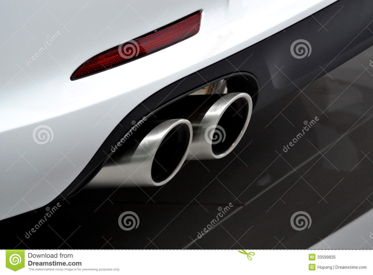 White Car Exhaust Pipe Stock Image Image Of Dual Circulation