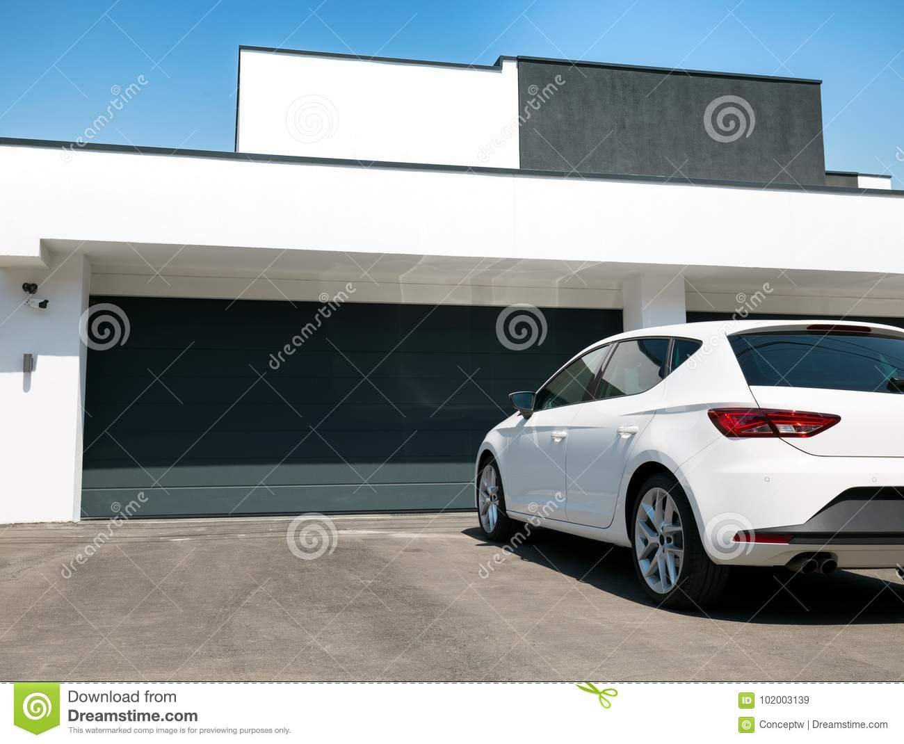 White Car In Front The House With Garage Door Stock Image Image Of