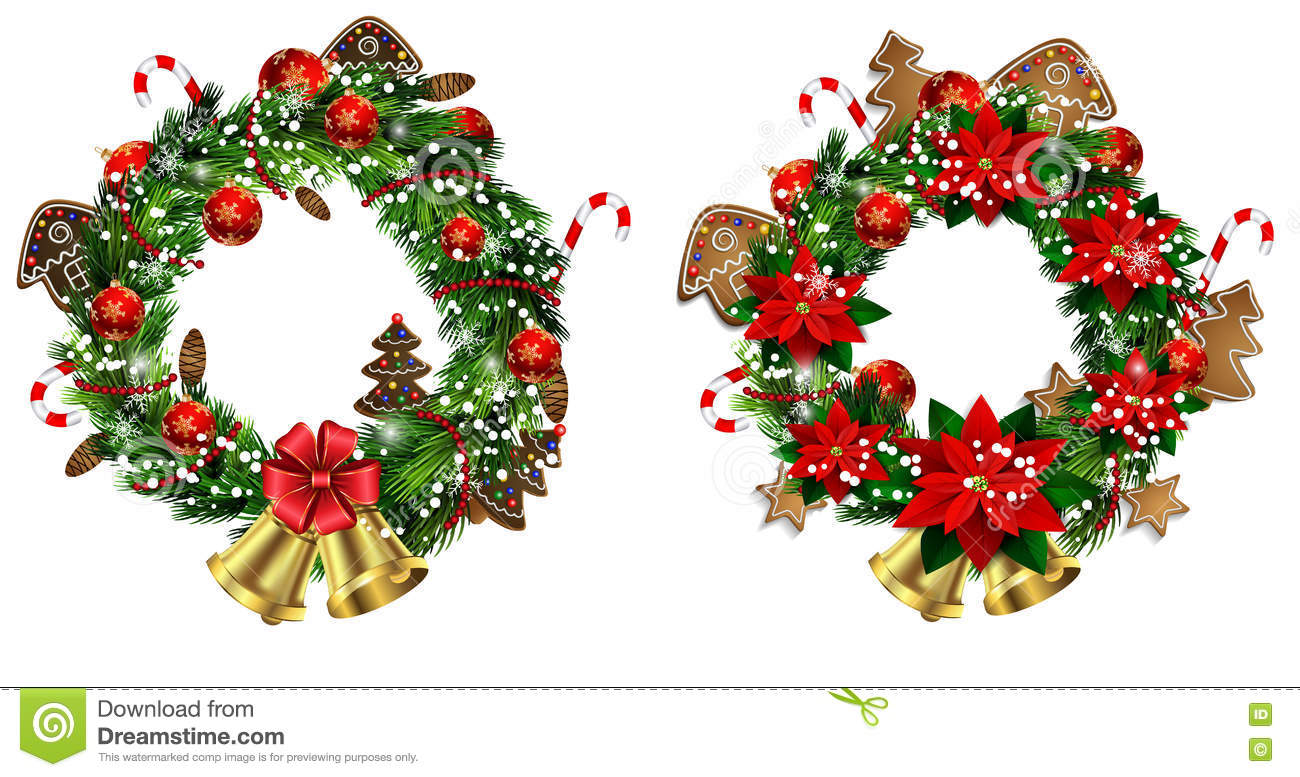 White Card With Christmas Wreath And Bow Stock Vector - Illustration ...