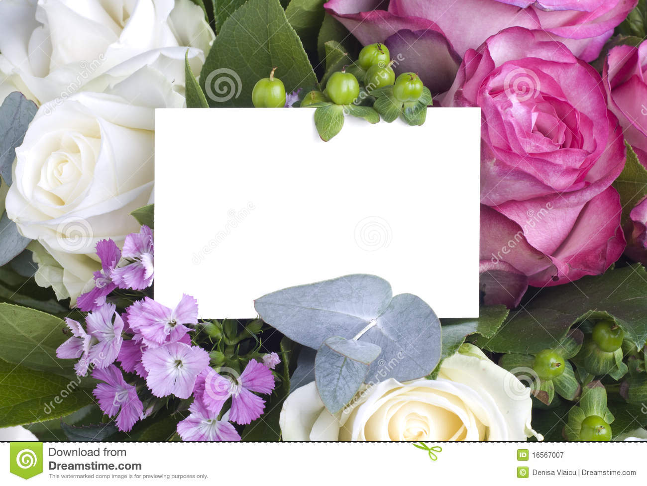 White Card In Flower Bouquet Stock Image - Image of romance, rose