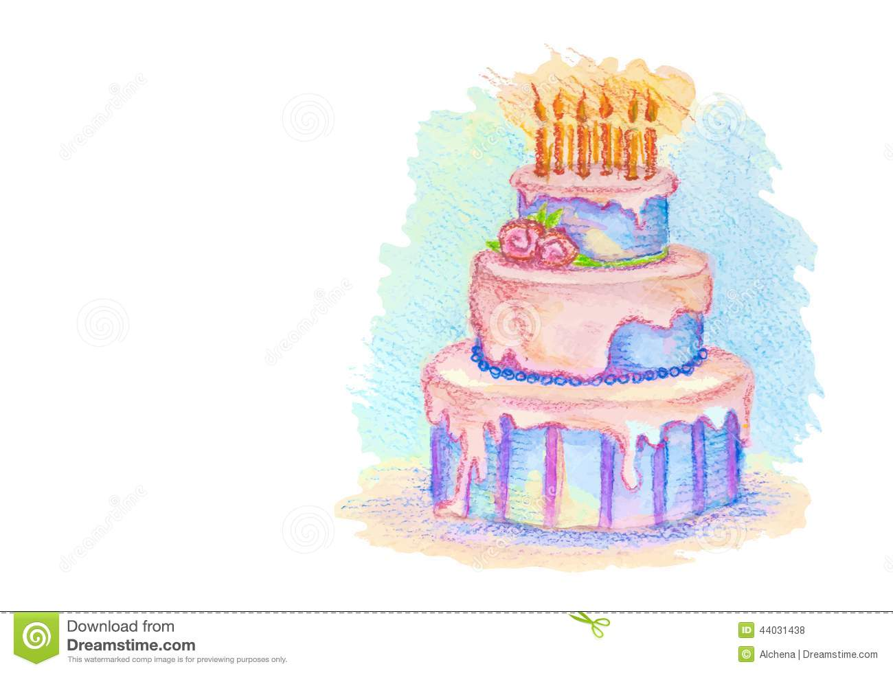 White Card With Hand Drawn Birthday Cake Stock Vector