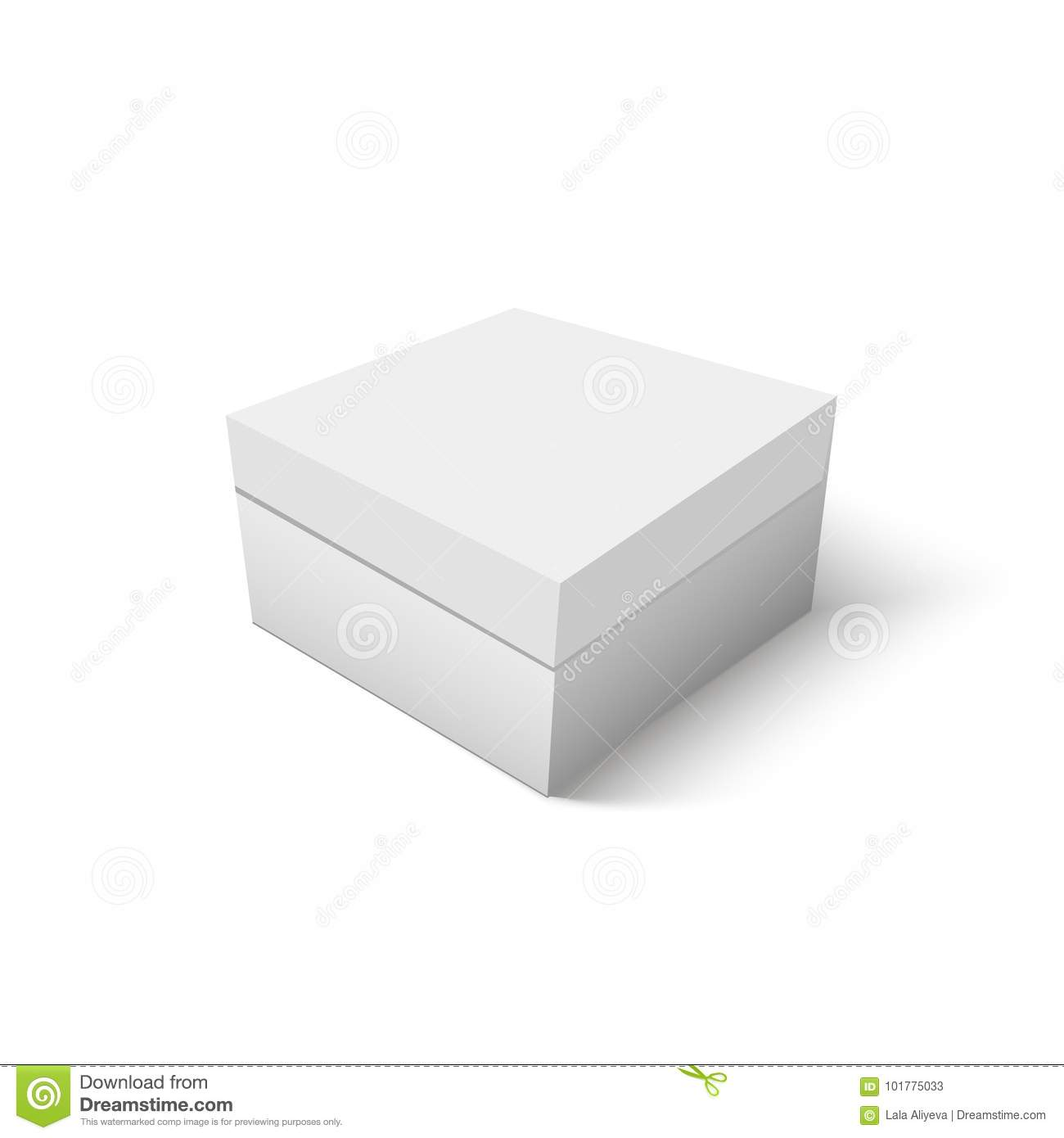 White Cardboard Box Template. Paper Container For Product. Vector ...