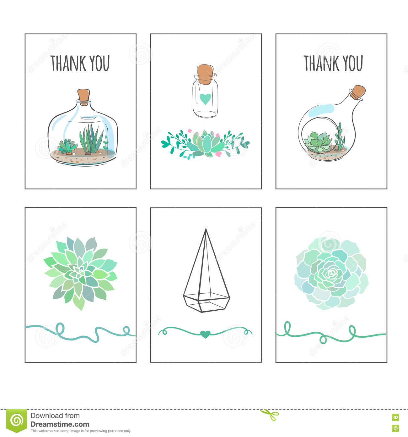 image relating to Printable Tags for Gifts identify White Playing cards With Succulents And Cactuses Inventory Vector