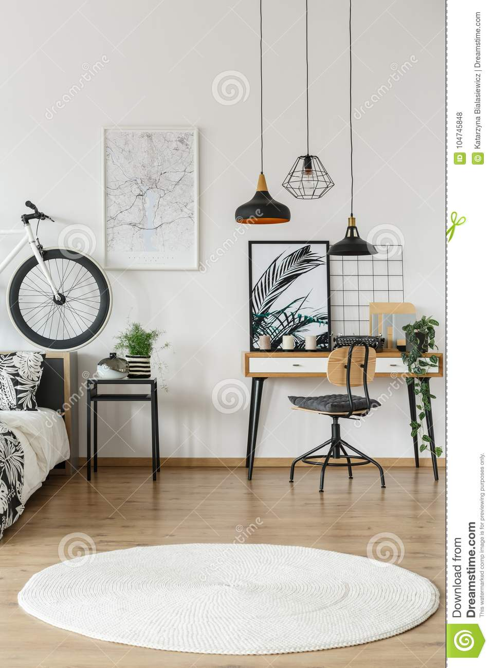 White Carpet In Teenager`s Room Stock Photo - Image of house ...