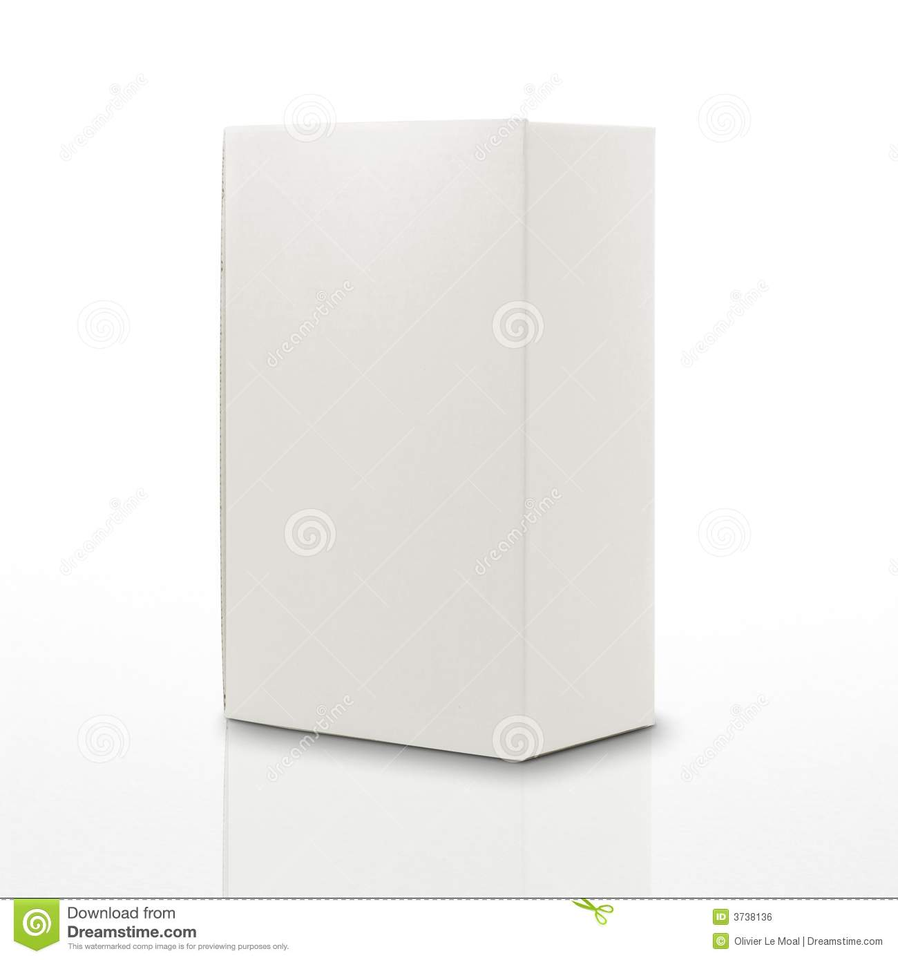 White carton box isolated on white with reflection