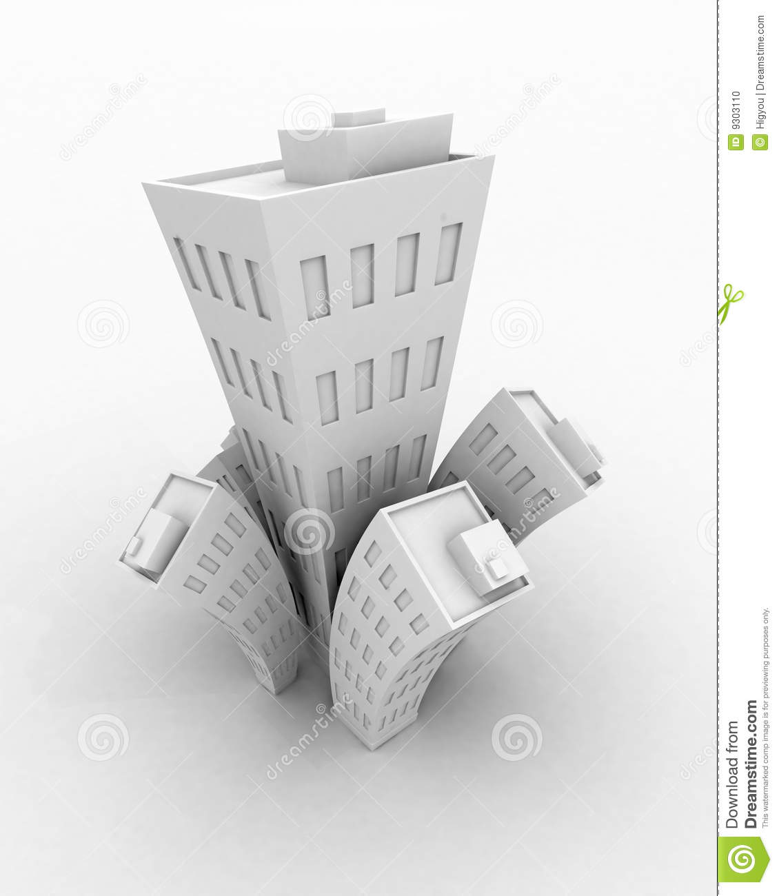 White Cartoon 3d Building Growth, Isolated Stock