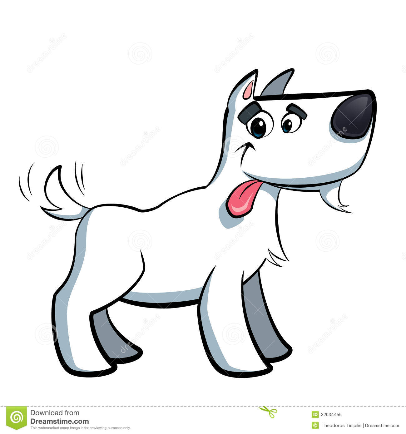 Cartoon Dog White With Black Ears