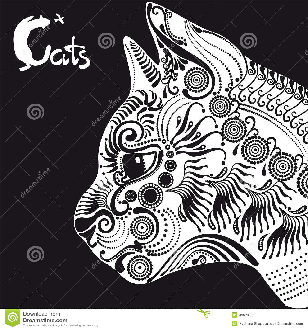 White cat decorative pattern for a tattoo or stencil for White cat tattoo floresta
